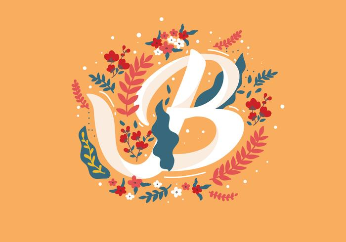 700x490 Letter B Typography With Flowers Vector