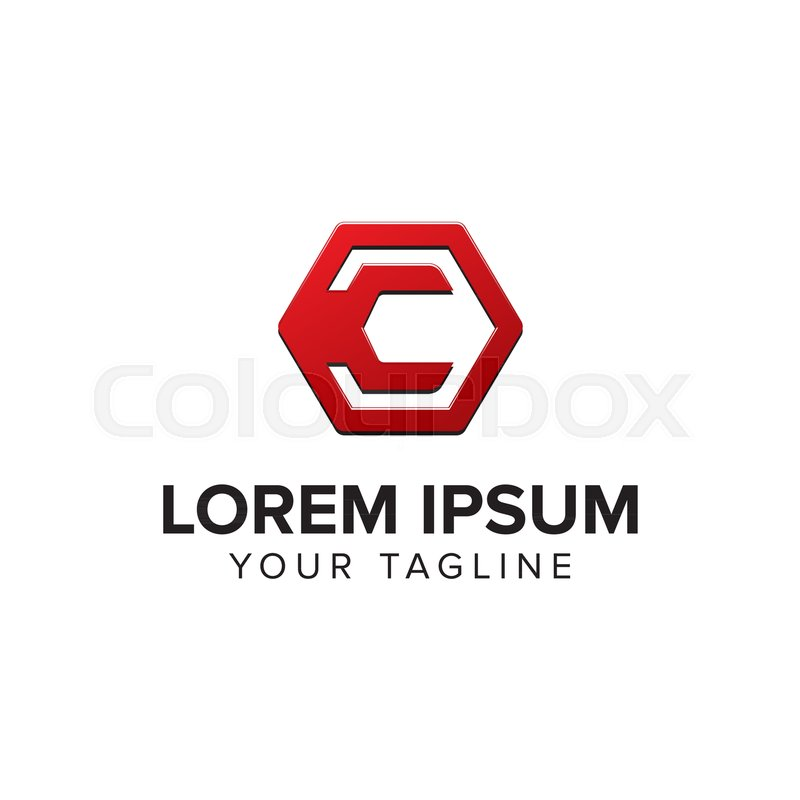 800x800 Creative Letter C Logo Concept Design With Hexagon Shapes, Simple