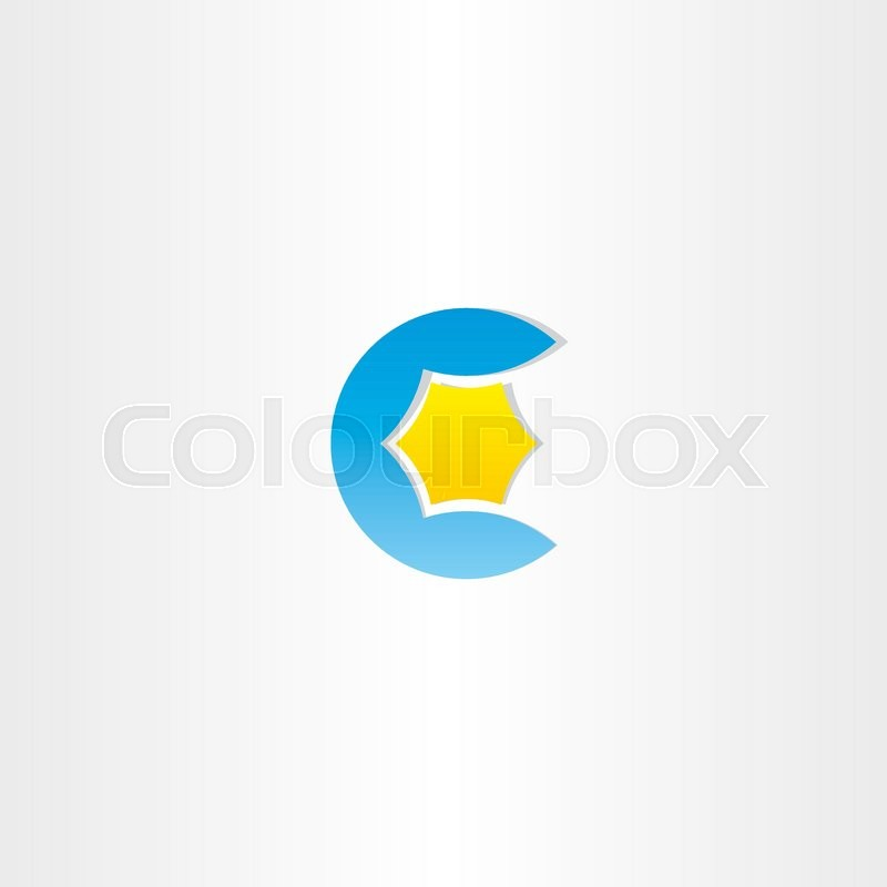 800x800 Water And Star Blue Letter C Logo Design Stock Vector Colourbox