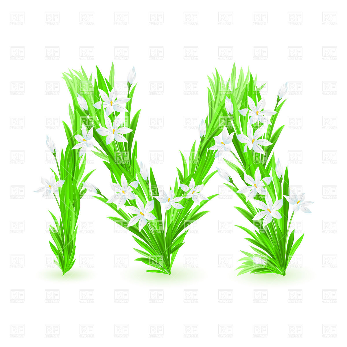 1200x1200 Grass And Spring Flowers Font Letter M Vector Image Vector