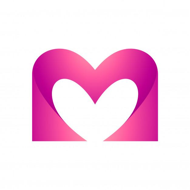 626x626 Heart Letter M Vector Premium Download