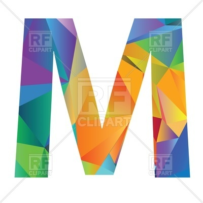 400x400 Motley Polygonal Font, Letter M Vector Image Vector Artwork Of