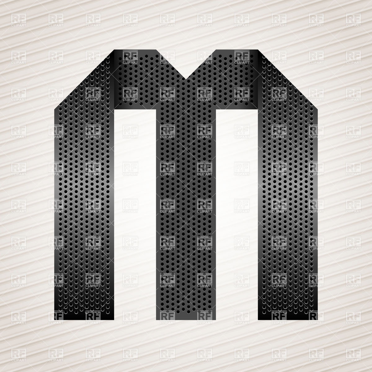 1200x1200 Alphabet Made Of Folded Metal Perforated Ribbon, Letter M Vector