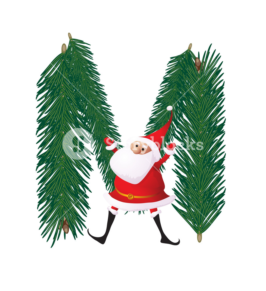 914x1000 Christmas Decorative Fir Tree Abc With Funny Santas. Letter M
