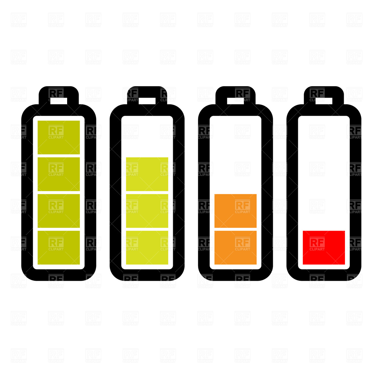 1200x1200 Level Of The Battery Charge Icons Vector Image Vector Artwork Of