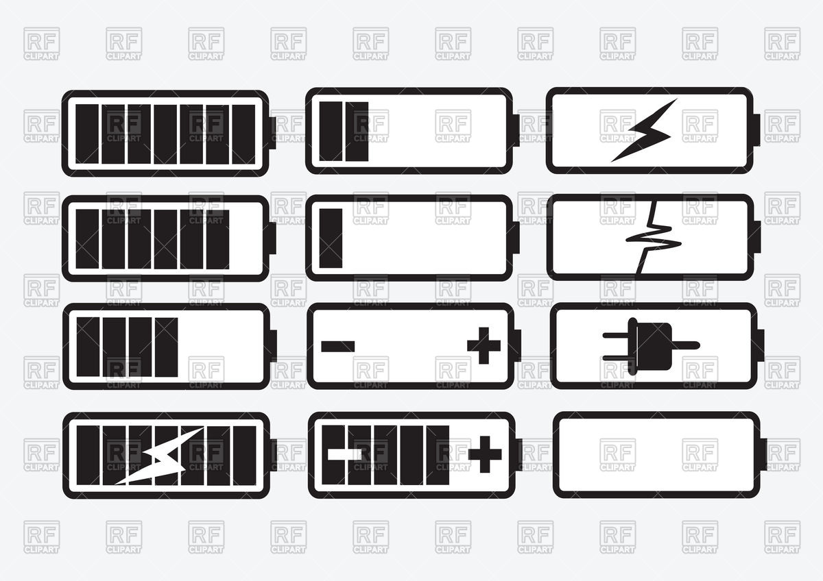 1200x848 Battery Charge Level Indicators Icon Set Vector Image Vector