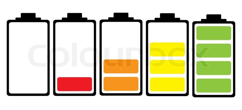 800x366 Simple Illustrated Battery Icon With Colourful Charge Level