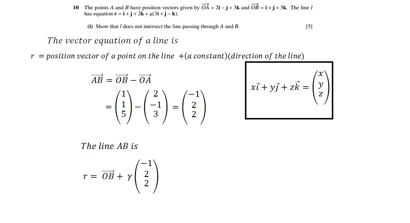 1416x771 Cie A Level Maths Vectors Intersection Of Two Lines Question No