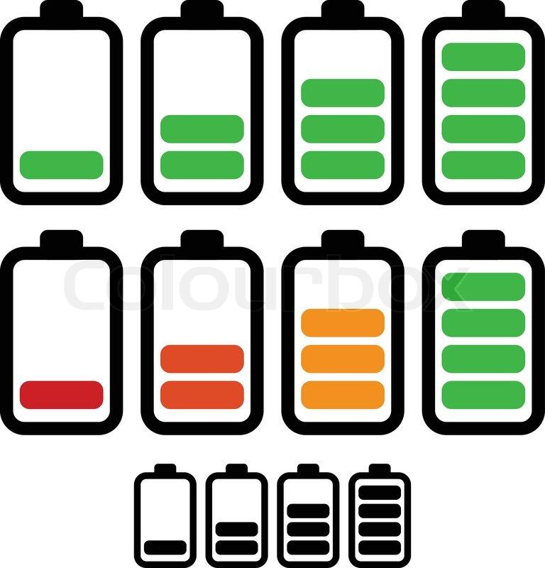 768x800 Illustration Of Battery Level Indicators. Battery Life