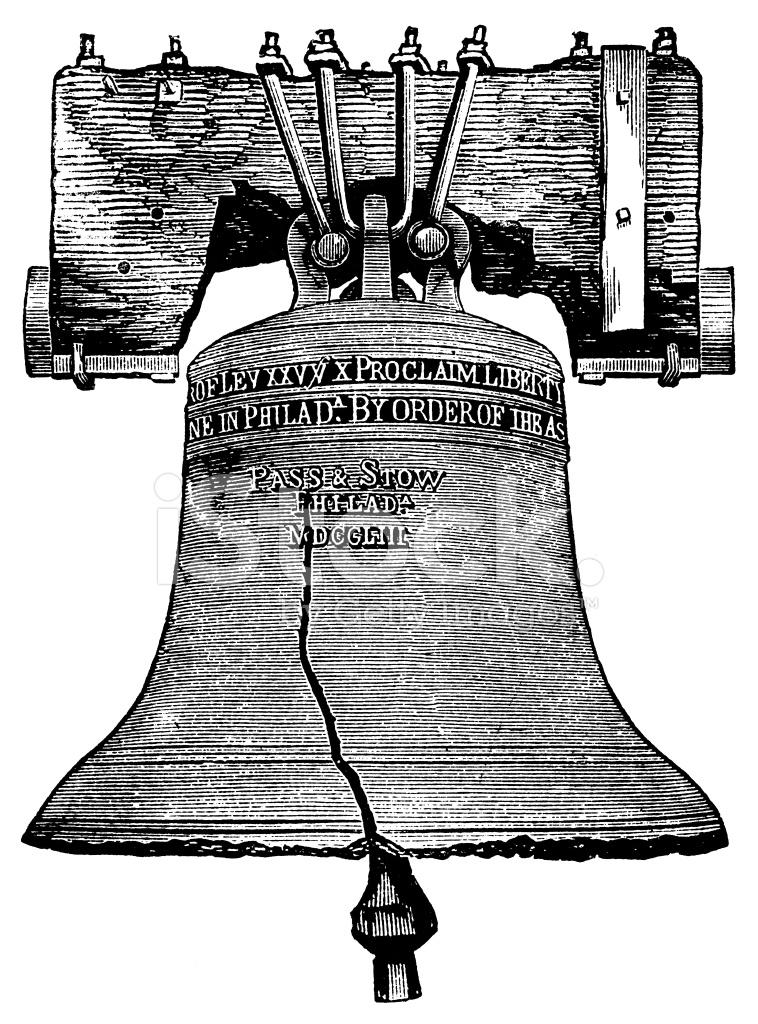 758x1024 Liberty Bell Antique Engraving Stock Vector