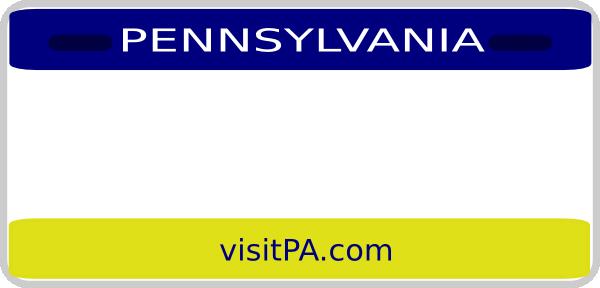 600x288 Pennsylvania License Plate Clip Art