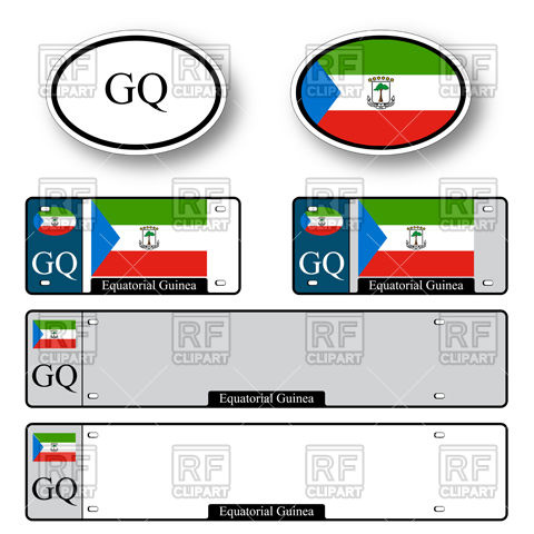 480x480 Template Of Car Plate Number With Flag Of Equatorial Guinea And