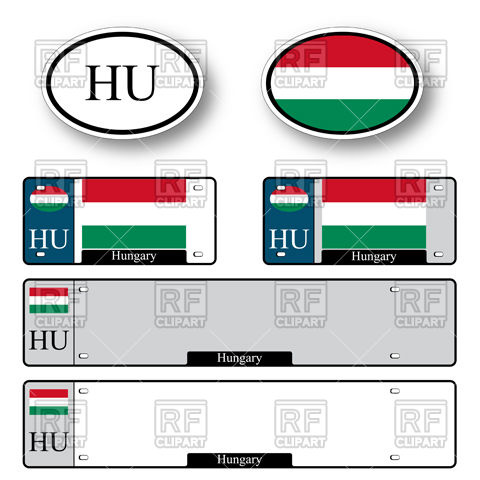 480x480 Template Of Car Plate Number With Flag Of Hungary And Oval Car