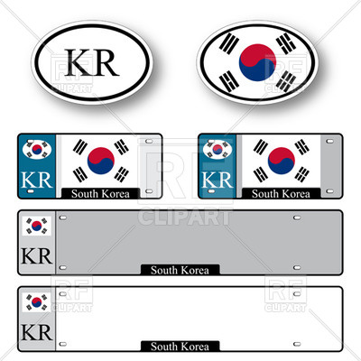 400x400 Template Of Car Plate Number With Flag Of South Korea And Oval