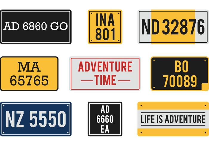 700x490 Free Vector License Plates