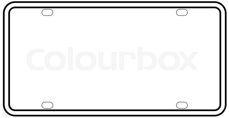 800x414 A Blank Licence Plate Over A White Background Stock Vector