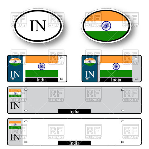 480x480 Template Of Car Plate Number With Flag Of India And Oval Country