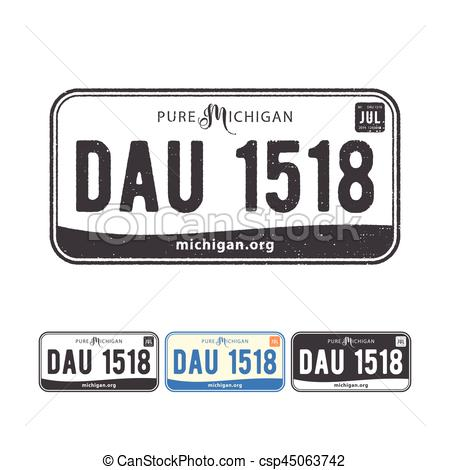 450x470 Vector Illustration Of America Usa Car Number Plates With