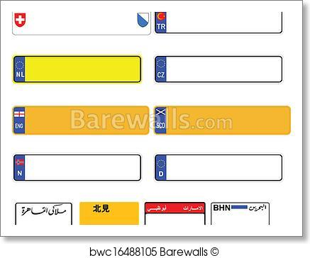 437x364 Art Print Of World License Plate Blanks Vector Barewalls Posters