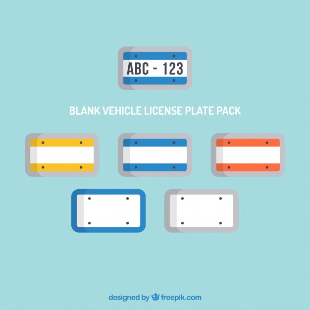 626x626 Blank Vehicle License Plate Pack Vector Free Download
