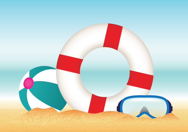 632x443 Summer Beach With Lifesaver Vector Free Vector Download 429049