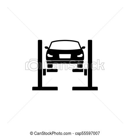 450x470 Car Lift. Filled Car Service Flat Vector Icon. Car Lift. Filled