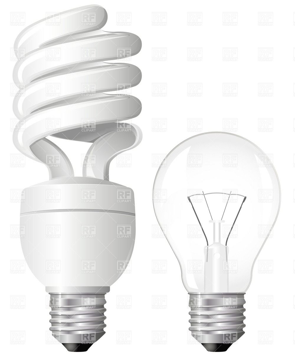1000x1200 Energy Efficient Fluorescent Light Bulbs Vector Image Vector