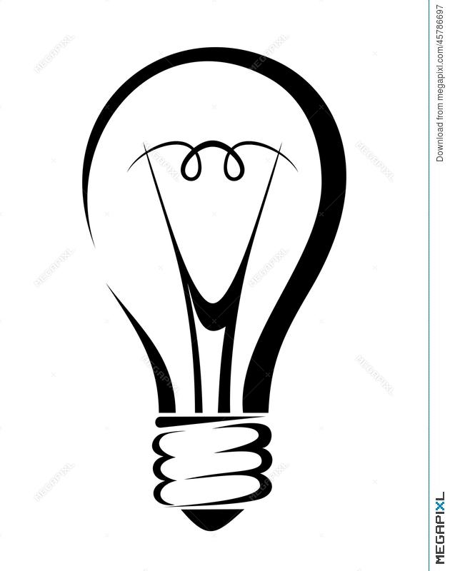 630x800 Light Bulb. Vector Black Silhouette. Illustration 45786697