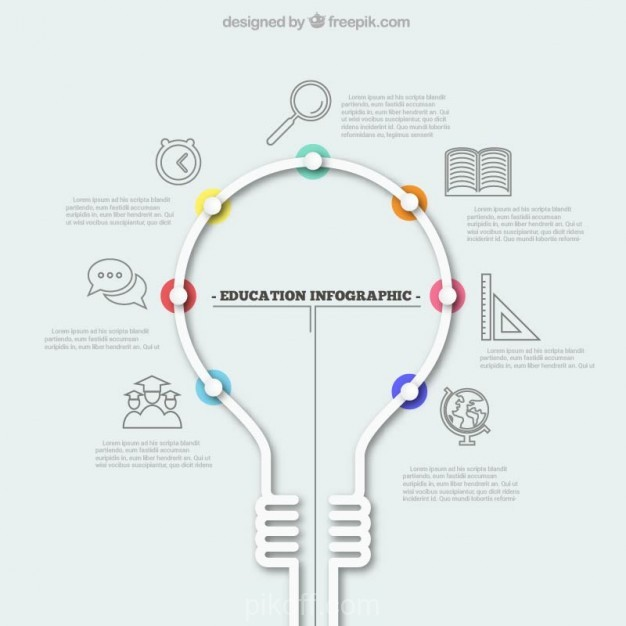 626x626 Ai] Education Infographic With A Light Bulb Vector Free Download
