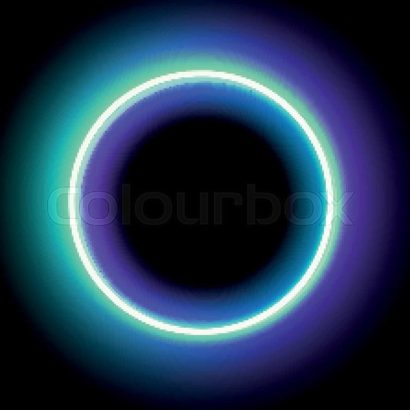 800x800 Neon Circle. Neon Blue Light. Vector Electric Frame. Vintage Frame