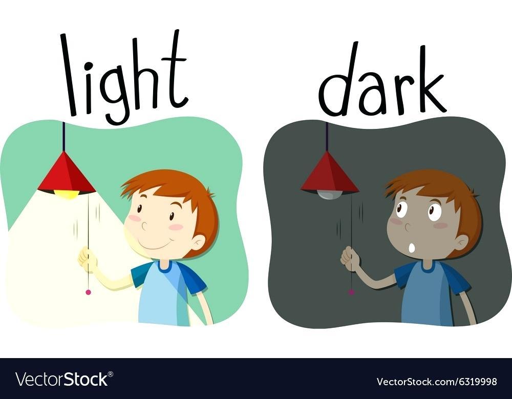1000x780 Opposite Of Light Opposite Adjectives Light And Dark Vector Image