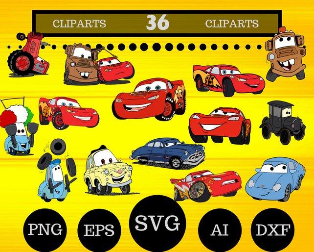 642x514 36 Cartoon Cars Clipartcars Svglightning Mcqueenmcqueen Etsy