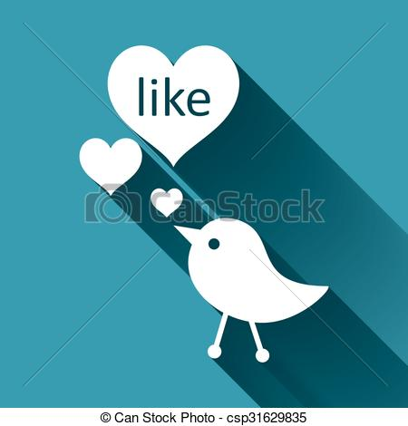 450x470 Heart Like Button. Like Heart Shaped Buttons And Tiny Birds.
