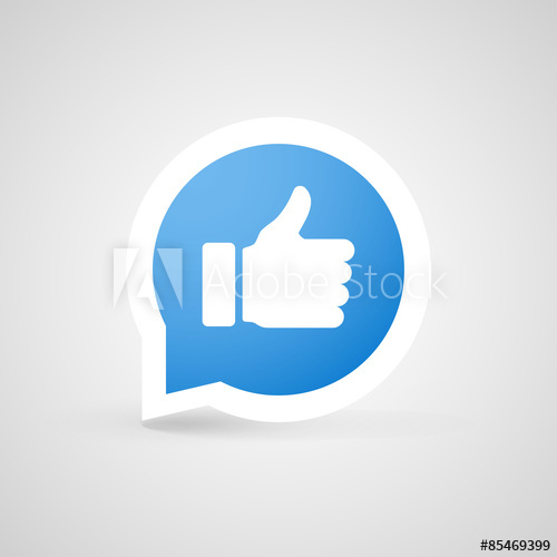 500x500 Thumbs Up Icon. Vector Like Button. Social Network Vector Icon