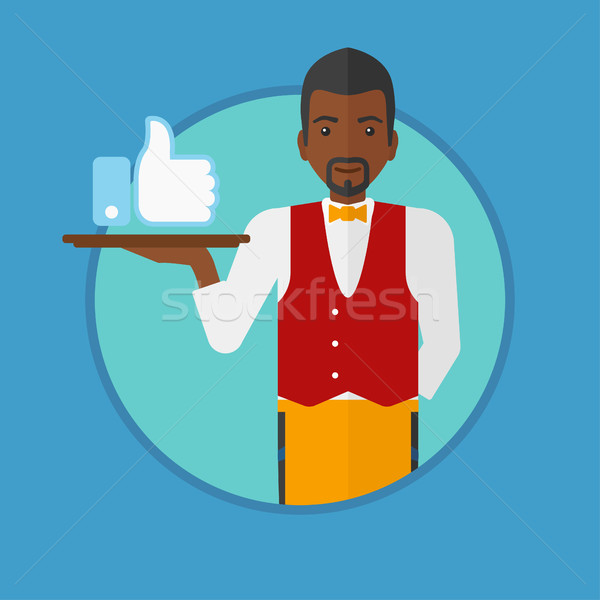 600x600 Waiter With Like Button Vector Illustration. Vector Illustration