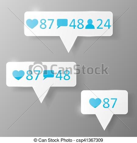 450x470 Like, Follower, Comment Icons. Like, Follower Comment Icons Vector