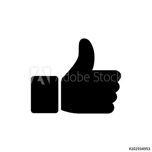 500x500 Like Icon Vector Illustration Isolated On White Background. Finger