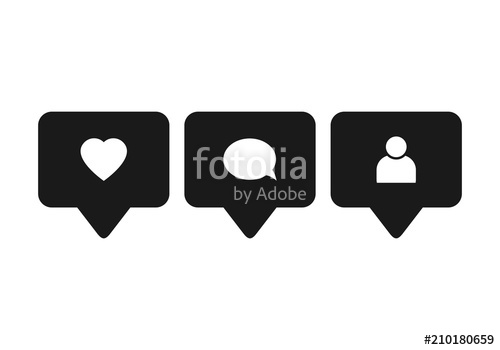 500x350 Like Icon Vector. Comment Icon Vector. Follower Icon Vector