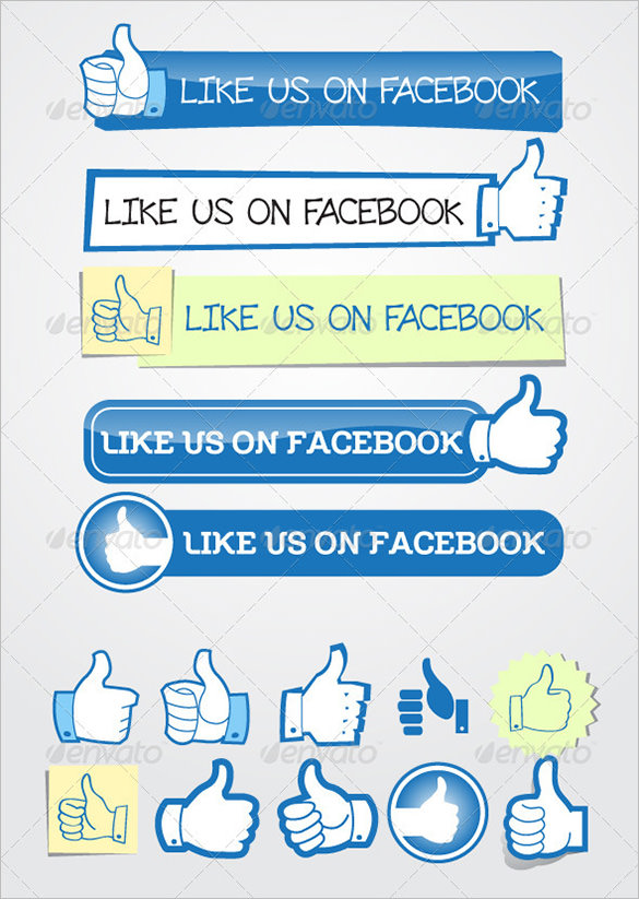 Like Us On Facebook Button Vector
