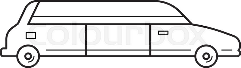 800x228 Limousine Vector Line Icon Isolated On White Background. Wedding