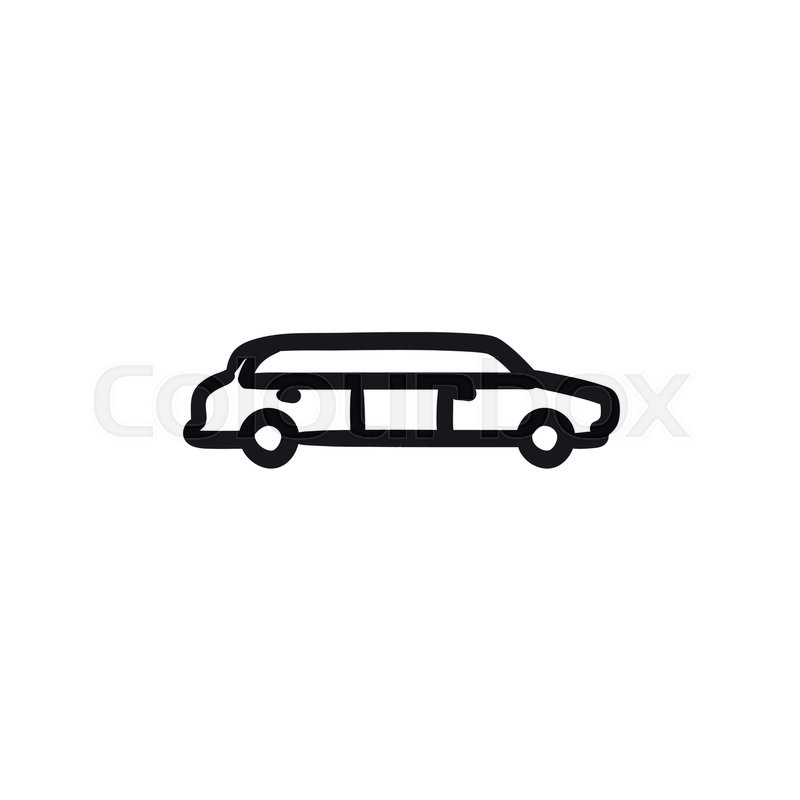 800x800 Wedding Limousine Vector Sketch Icon Isolated On Background. Hand