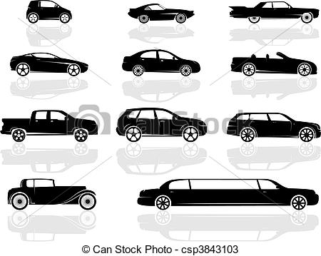 450x359 Cars Set. A Set Of Various Cars, From Compact To Stretch Limousine