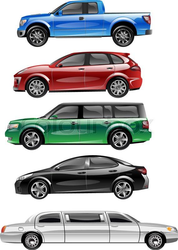 570x800 Different Passenger Car Vector. Sedan Car, Universal Car