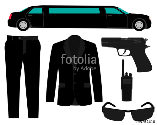 500x400 Icon Set Bodyguard. The Gun, Suit And A Limousine. Vector