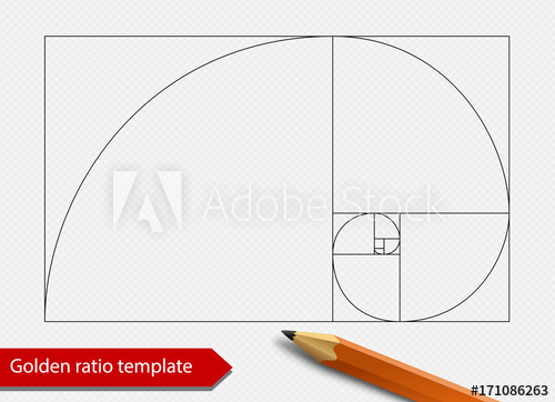 500x362 Golden Ratio Line Graph Template Vector Illustration. Fibonacci