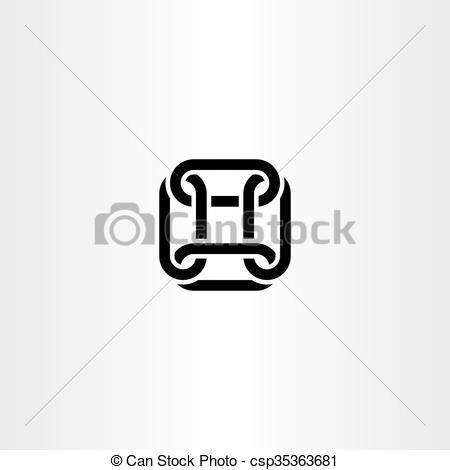 450x470 Square Chain Link Vector Logo Icon Design. Square Chain Link