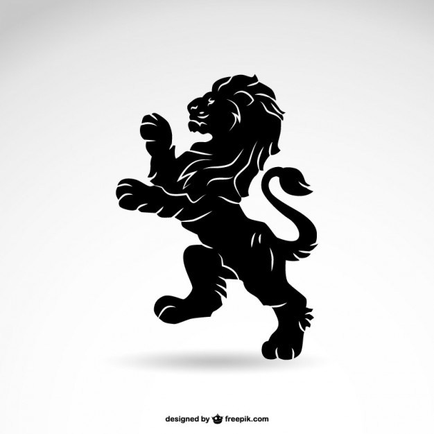 626x626 Lion Heraldry Silhouette Free Vector 123freevectors
