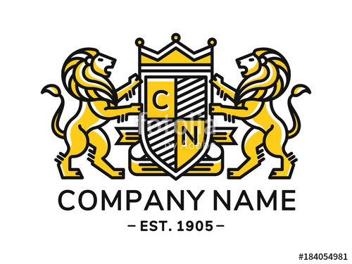 500x375 Lion Heraldry Emblem Modern Line Style With A Shield And Crown