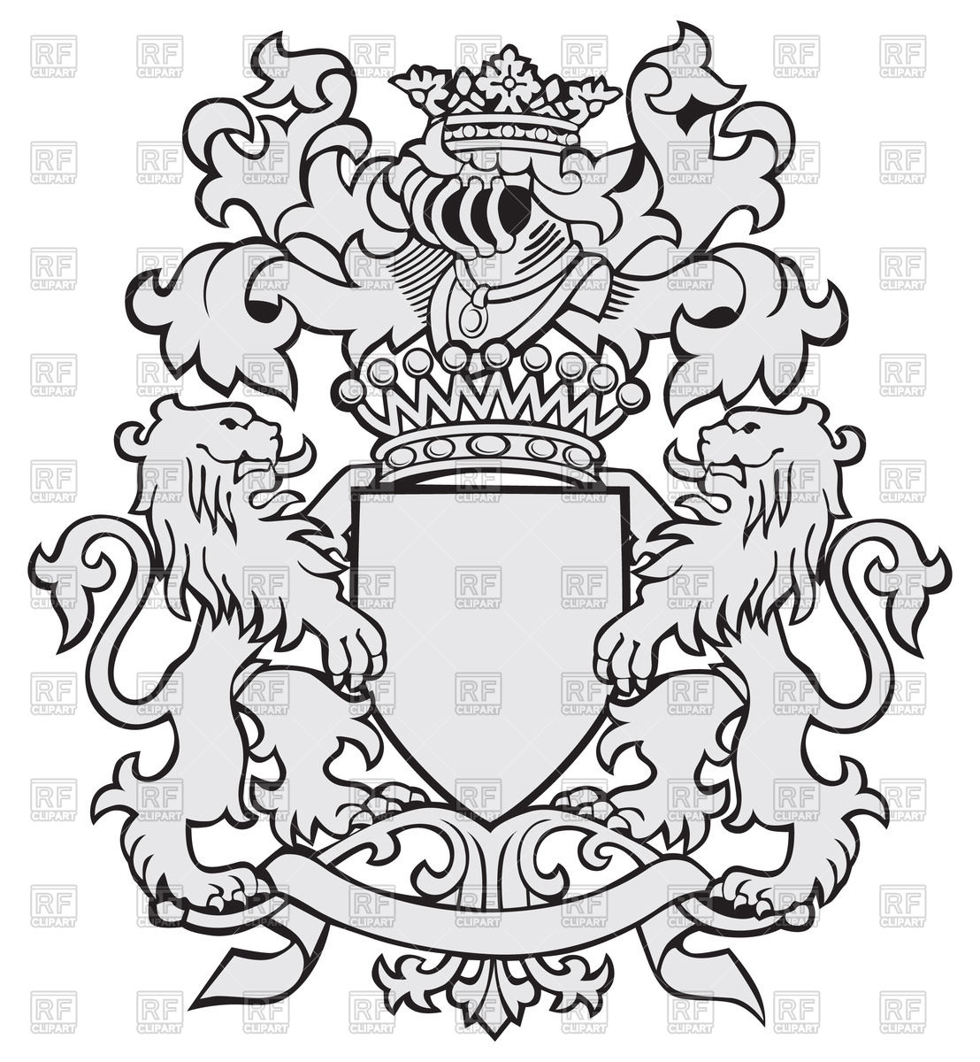1108x1200 Medieval Coat Of Arms With Lions And Helmet