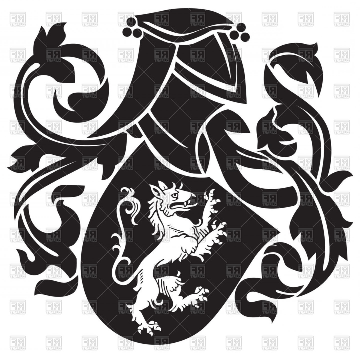 1440x1412 Ornate Heraldic Blazon With Image Of Lion On Shield Royal Coat Of